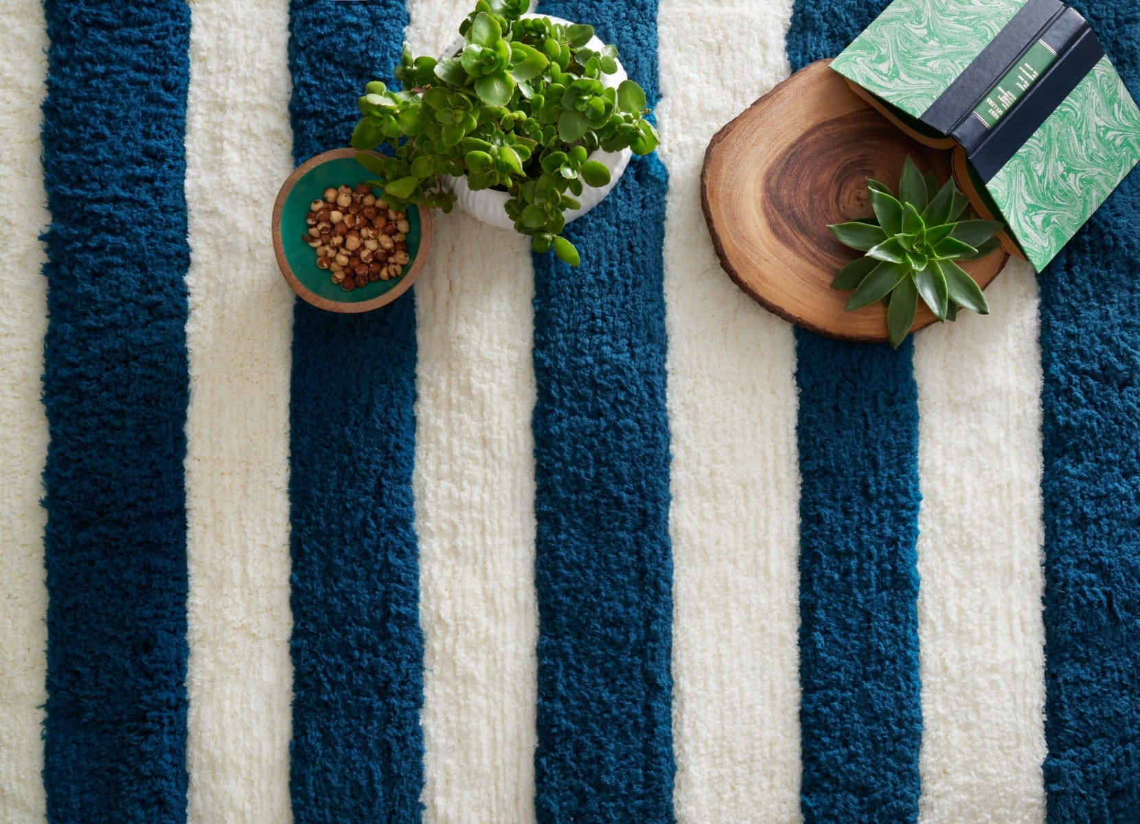 Blue Striped Area Rug