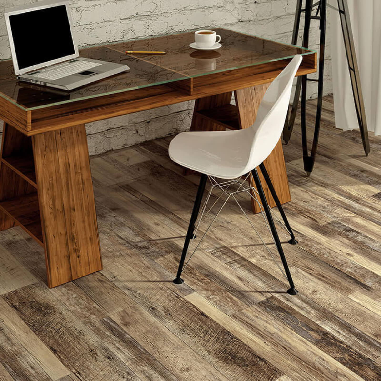 Home Office with Tile