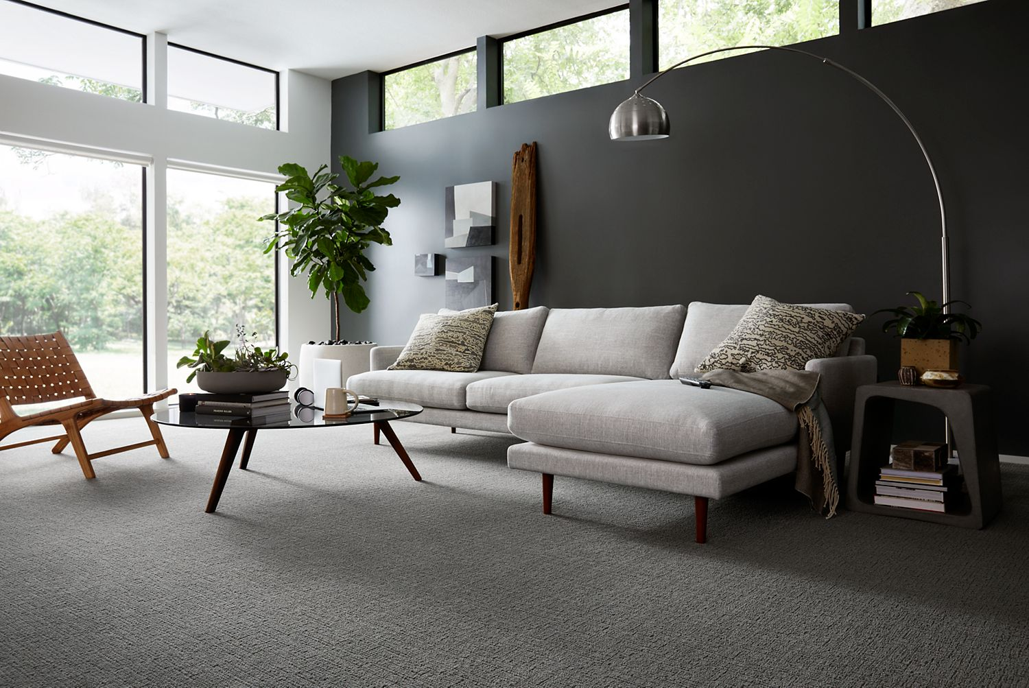 Living room with carpeting