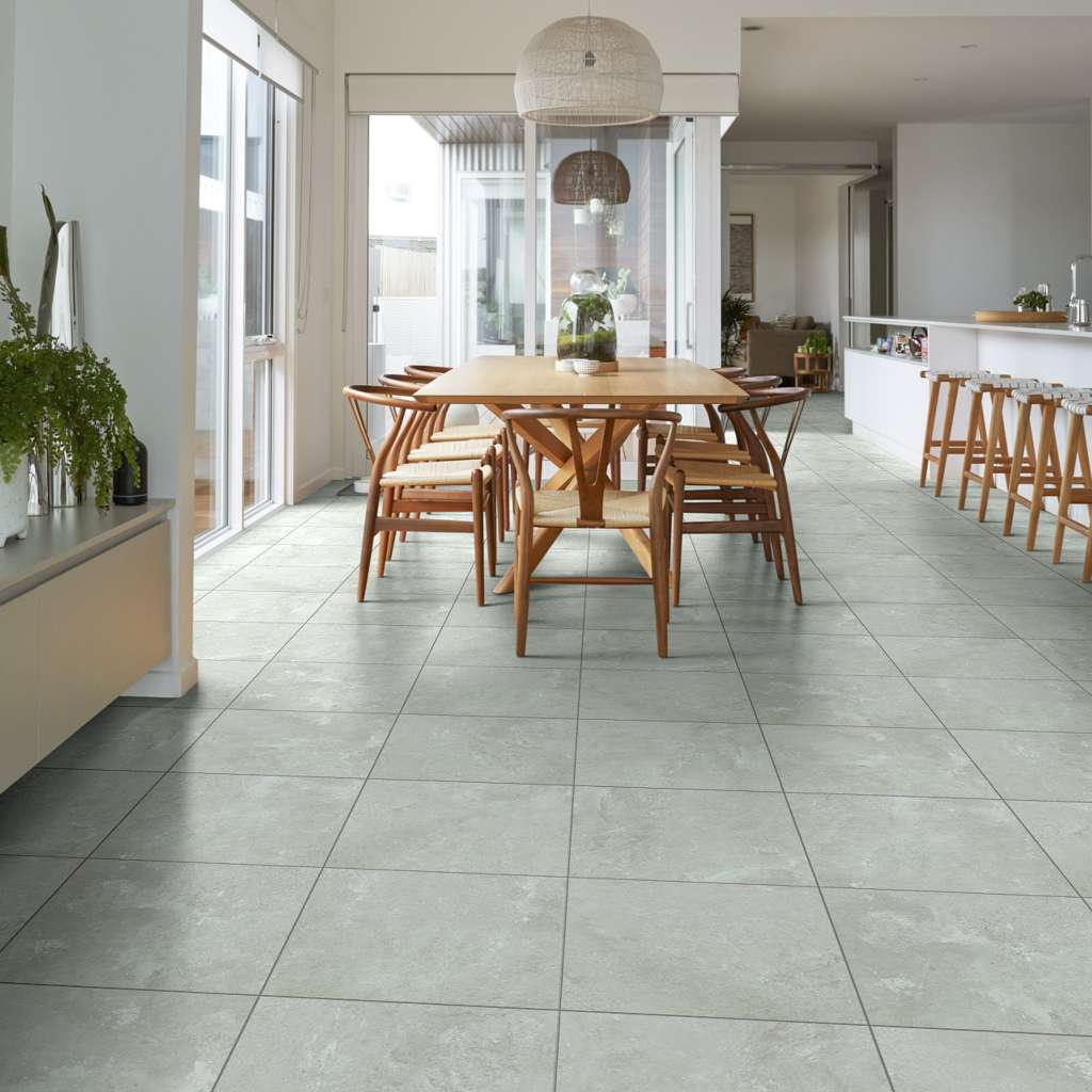 Dining room with vinyl tiles
